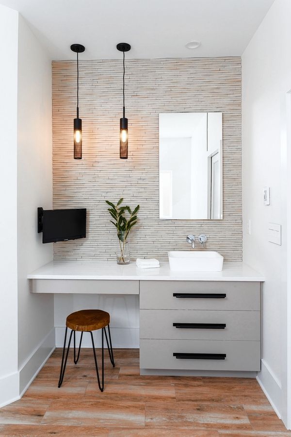 Gray cabinets are a popular choice for today's bathroom.
