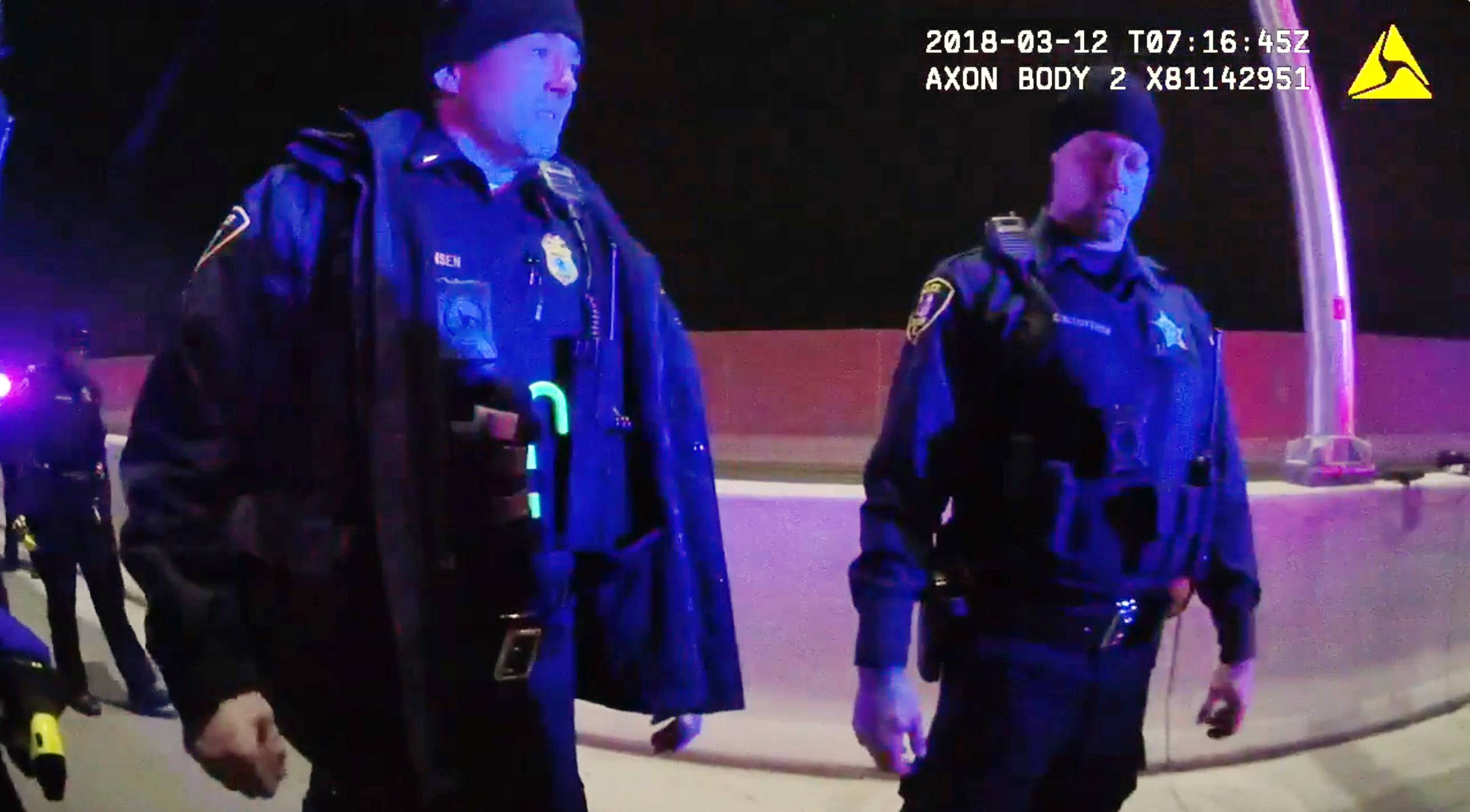 Elgin police body camera video shows Lt. Christian Jensen, left, after he fatally shot resident Decynthia Clements on March 12, 2018. The shooting was found justified by the Cook County state's attorney on Friday, police said.