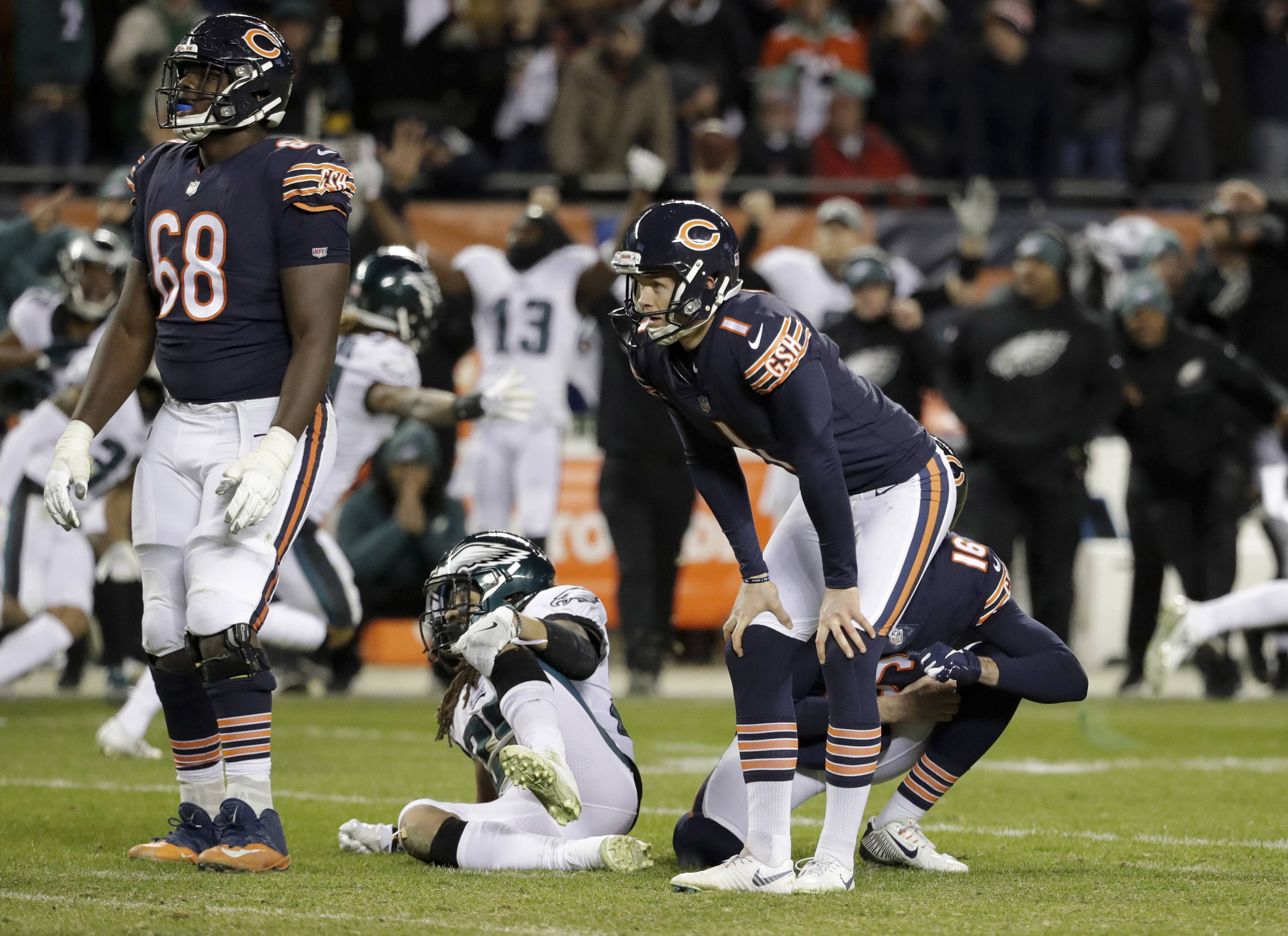 FILE — In this Jan. 6, 2019, file photo, Chicago Bears kicker Cody Parkey (1) reacts after missing a field goal in the closing minute of the team's NFL wild-card playoff football game against the Philadelphia Eagles in Chicago. A person familiar with the situation says the Bears have decided to release embattled kicker Parkey after one season. The person spoke Friday, Feb. 22, 2019, on the condition of anonymity because the move had not been announced. Signed to a four-year contract in March, Parkey made just 23 of 30 field goals during the regular season for the third-lowest conversion rate in the NFL. He was 42 of 45 on extra points. (AP Photo/Nam Y. Huh, File)