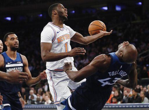 4718aec2505a54 New York Knicks  Emmanuel Mudiay (1) drives into Minnesota Timberwolves   Anthony Tolliver
