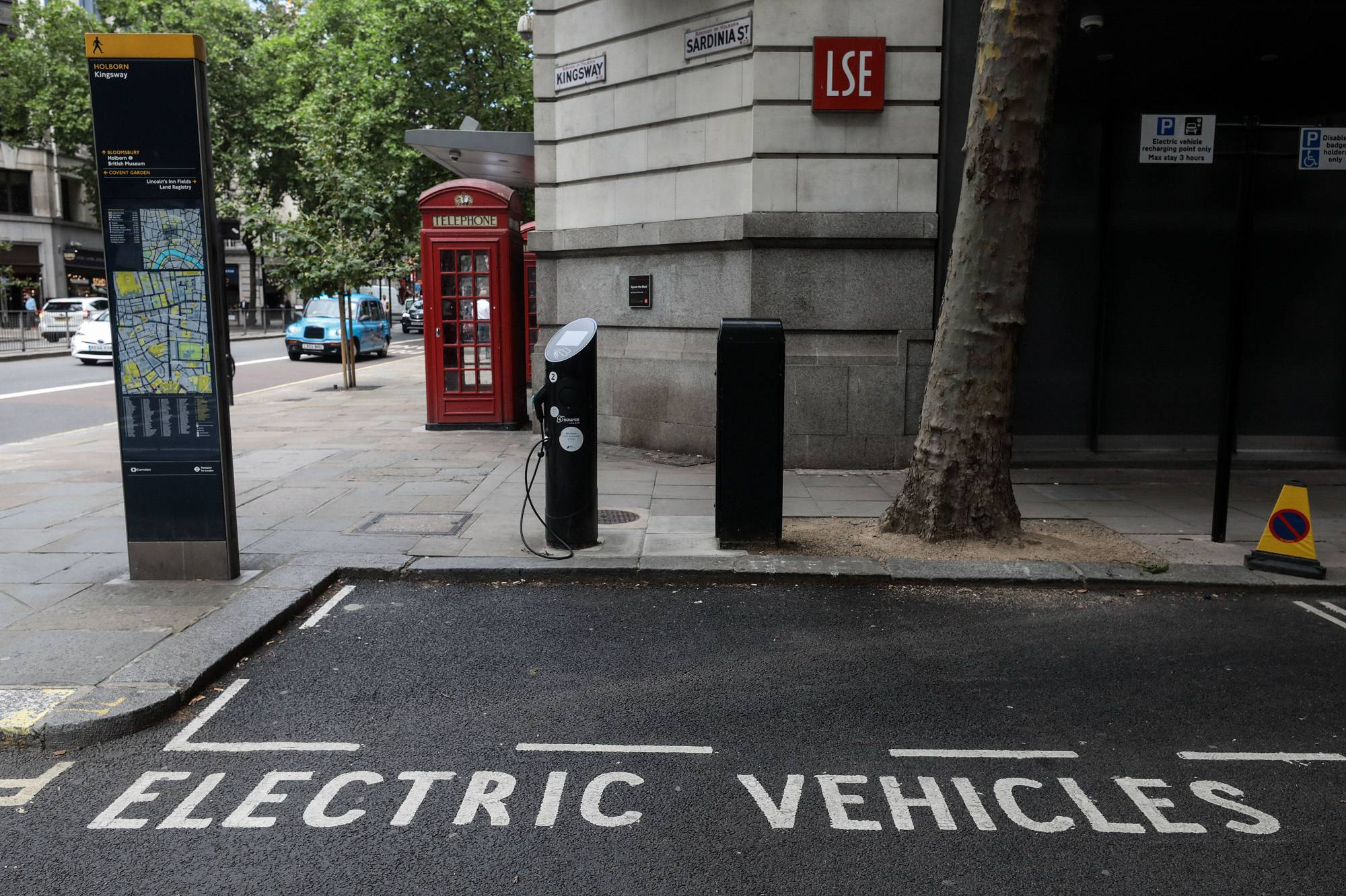 A parking area for electric vehicles in London.
