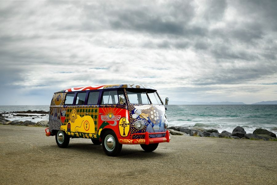 This restored 1963 Volkswagen Microbus is on a cross-country trek for the Woodstock music festival's 50th anniversary in August.