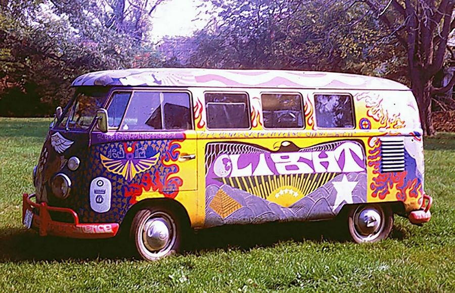 A photo of the original Woodstock bus painted for the Baltimore-area band, Light.