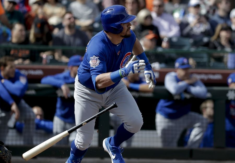 5324554a8 Cubs  Kyle Schwarber watches his double against the San Francisco Giants  during the second inning