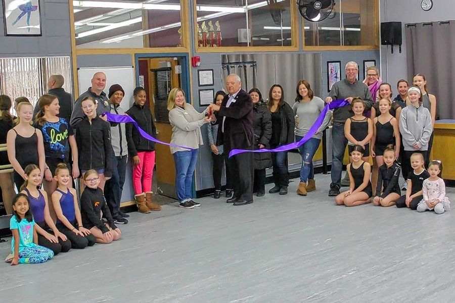 A ribbon-cutting ceremony was held Feb. 9 at the renovated and expanded dance studio at 2222 Birch St., Des Plaines. Park board President Don Rosedale and park district Cultural Arts Supervisor Nancy Suwalski did the honor of cutting the School of Dance purple ribbon.