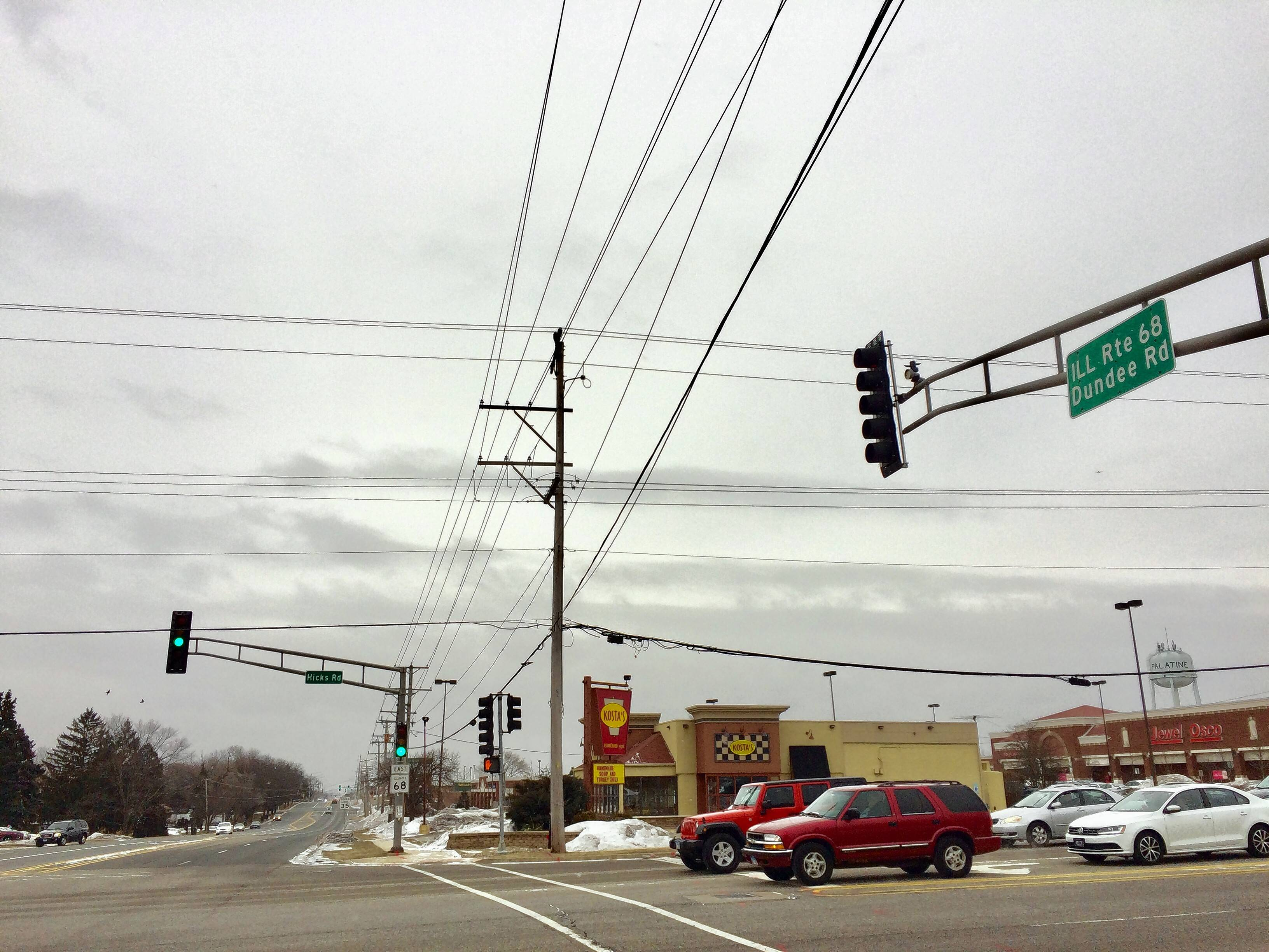 This is eastbound Dundee Road at Hicks Road in Palatine. A Palatine Township Elementary District 15 bus driver received a five-day unpaid suspension for veering off eastbound Dundee on a yellow light and winding up in a parking lot after avoiding another bus carrying high school students last month, according to documents and Superintendent Scott Thompson.