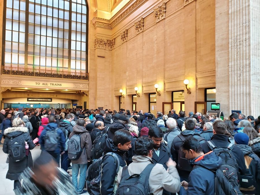 Union Station's Great Hall was filled with commuters waiting for trains Thursday afternoon after Amtrak's automatic switching system went down, resulting in long delays for Metra trains that use the station.