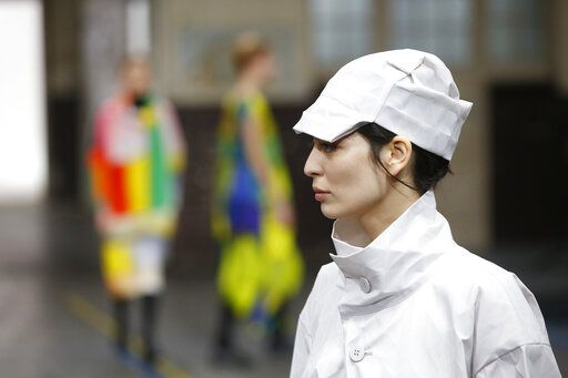 A model wears a creation as part of the Issey Miyake ready to wear Fall-Winter 2019-2020 collection, that was presented in Paris, Friday, March 1, 2019.