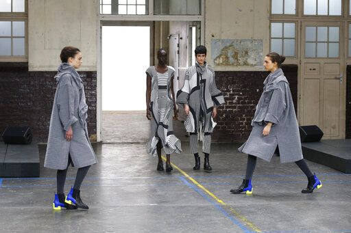 Models wear creations as part of the Issey Miyake ready to wear Fall-Winter 2019-2020 collection, that was presented in Paris, Friday, March 1, 2019.