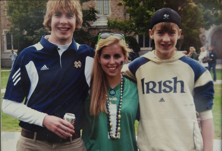 A month before he was killed, Declan Sullivan, left, was hanging out with his sister, Wyn, and brother, Mac, at the University of Notre Dame. Wyn and Mac both went on to graduate from Notre Dame. This is the last photograph of all three together.