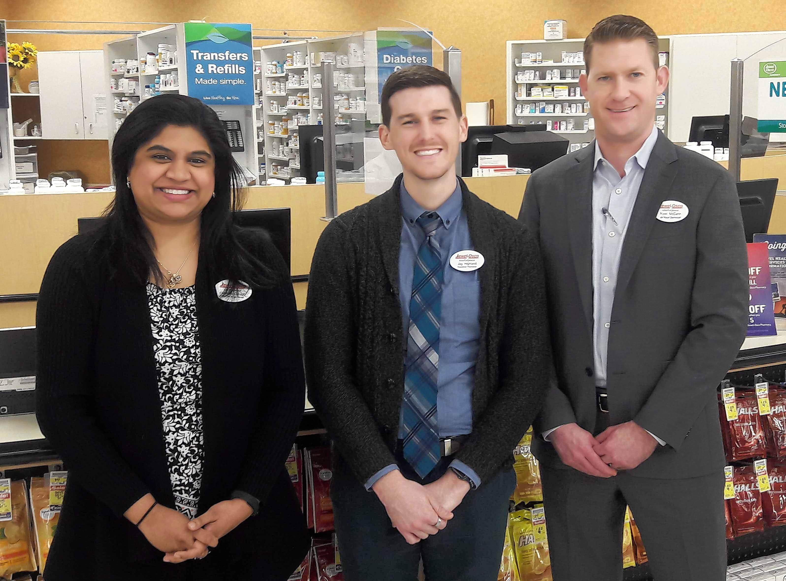 Pictured from left are Jewel-Osco Pharmacy employees Chandni Clough, PharmD, Patient Care Services Manager; Jay Highland, Patient Care Pharmacist, and Ryan L. McCann, PharmD, Director of Pharmacy Operations.