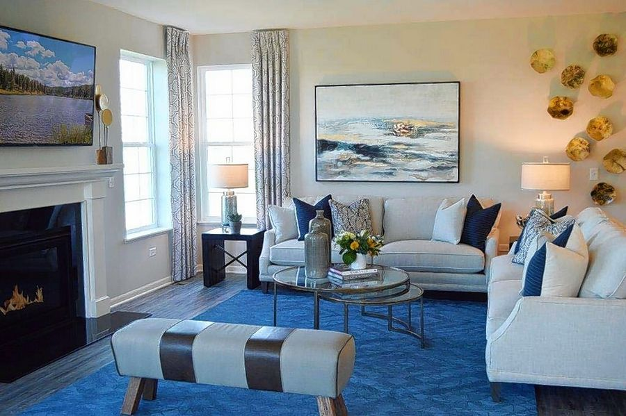Eleni Interiors in Naperville used blue, a trending color in design this year, to furnish a model at the Huntington Chase community in Montgomery.