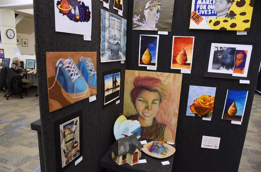 Artwork by Grayslake North High School students is featured in the show at the Grayslake Area Public Library.