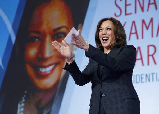 "FILE - In this March 1, 2019 file photo Sen. Kamala Harris, D-Calif., speaks at the Black Enterprise Women of Power Summit, in Las Vegas. A growing list of Democratic presidential contenders want the U.S. government to legalize marijuana, reflecting a nationwide shift. Harris says it's the ""smart thing to do."""
