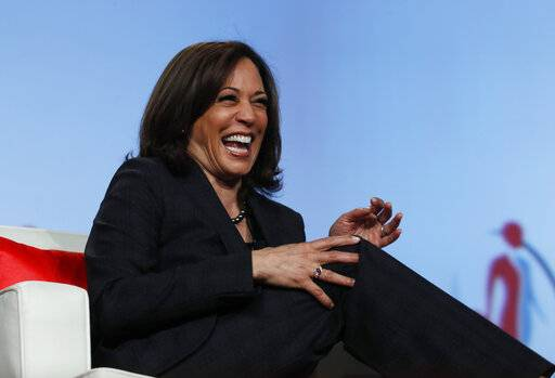 "FILE - In this Friday, March 1, 2019 file photo Sen. Kamala Harris, D-Calif., speaks at the Black Enterprise Women of Power Summit in Las Vegas. A growing list of Democratic presidential contenders want the U.S. government to legalize marijuana, reflecting a nationwide shift. Harris says it's the ""smart thing to do."""