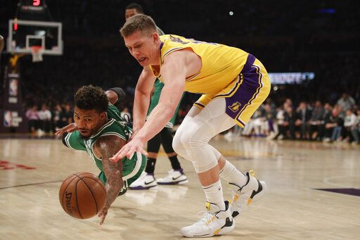 watch e53b4 5ed3c Los Angeles Lakers  Moritz Wagner, right, of Germany, and Boston Celtics