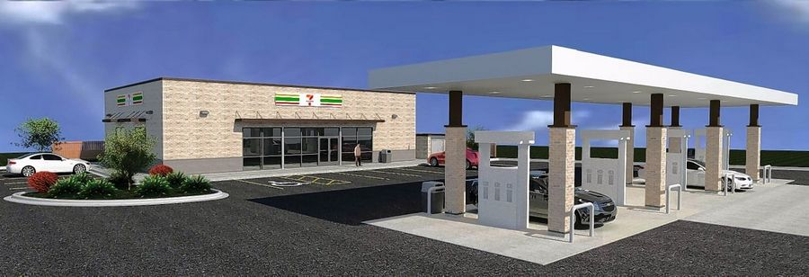 A sketch shows the planned 7-Eleven gas station and convenience store on the northeast corner of Algonquin Road and New Wilke Drive in Arlington Heights.