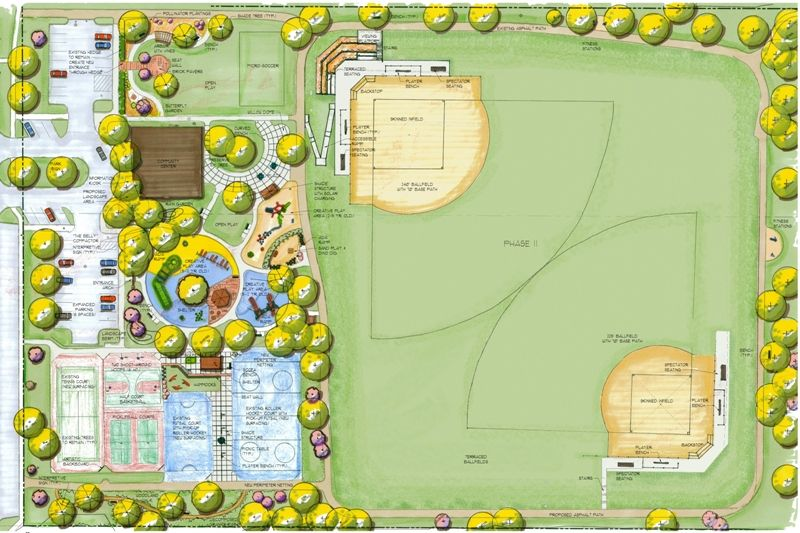 Blueprint of the proposed new park