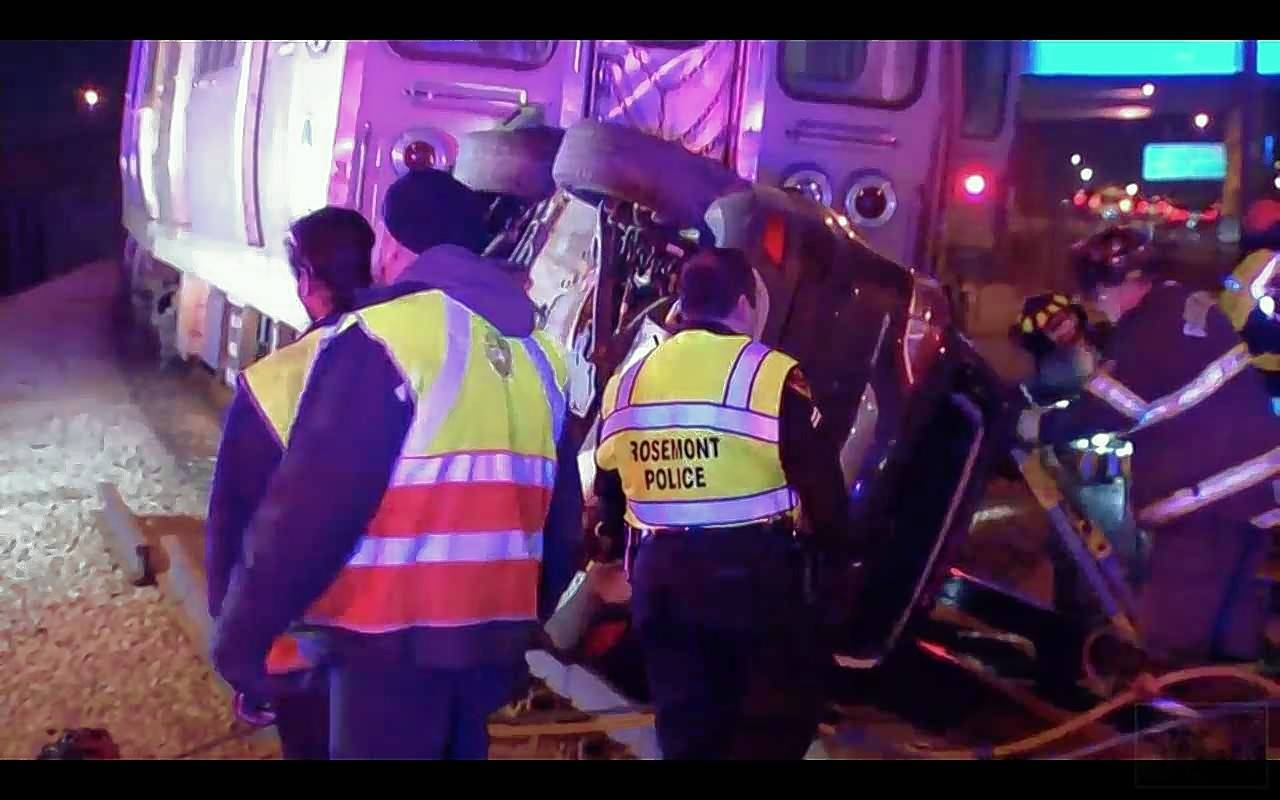 Driver killed, 3 CTA passengers injured when Blue Line train strikes car near Rosemont