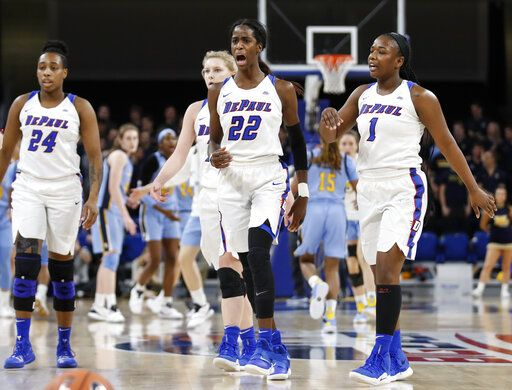 DePaul forward Chante Stonewall (22) reacts after scoring against Marquette during the second half of an NCAA college basketball game in the Big East women's tournament final Tuesday, March 12, 2019, in Chicago.