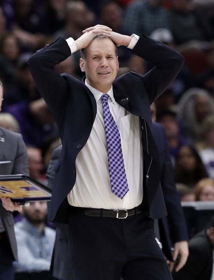 Northwestern head coach Chris Collins reacts as he watches his team during the second half of an NCAA college basketball game against Illinois in the first round of the Big Ten Conference tournament in Chicago, Wednesday, March 13, 2019. Illinois won 74-69 in overtime.