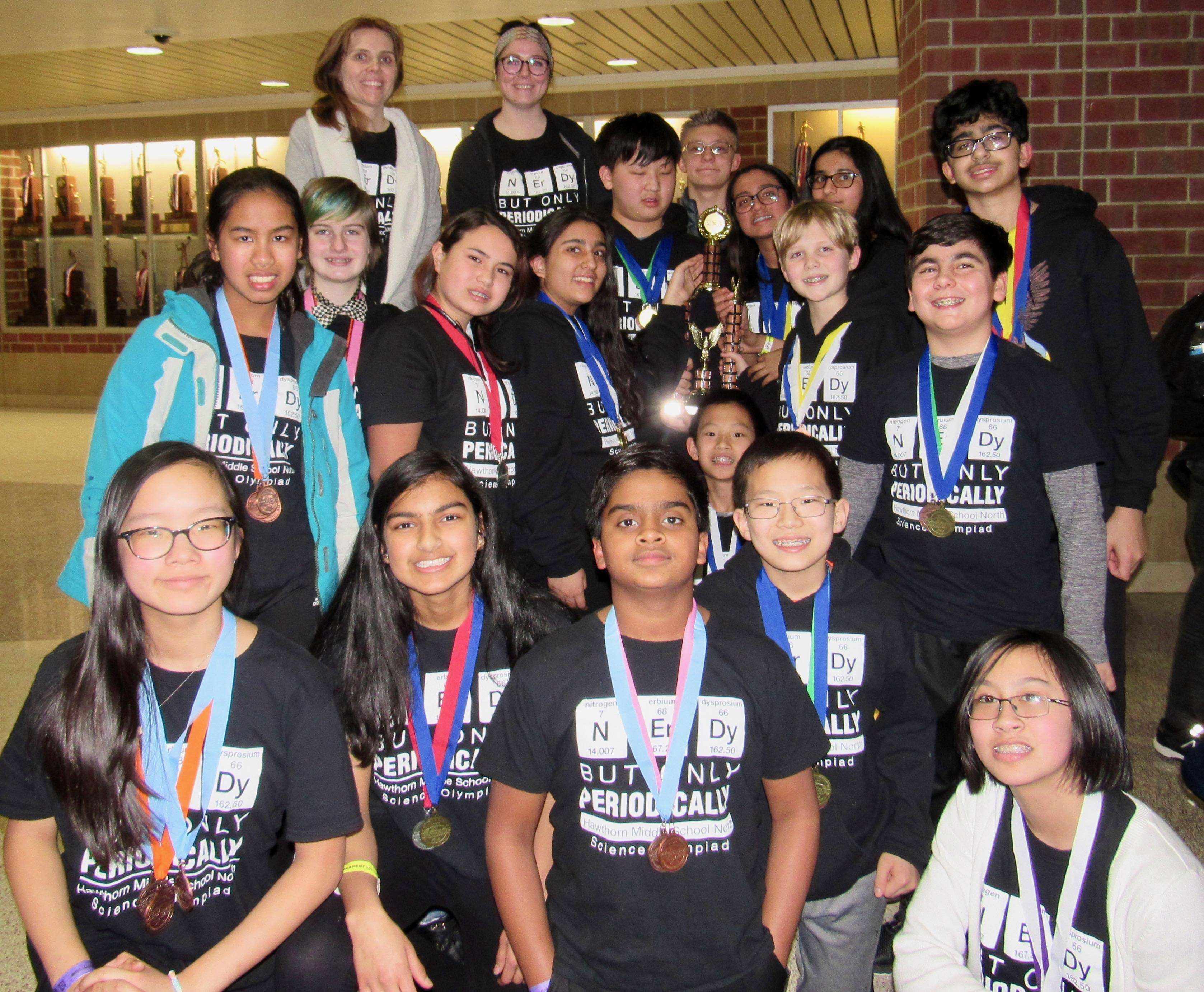The Hawthorn Middle School North Science Olympiad Team will compete at the Illinois State competition in April. Courtesy of Hawthorn School District 73