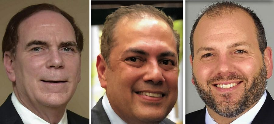 From left, Tom Dailly, Nafees Rahman and Matthew Steward are candidates for Schaumburg mayor in 2019.