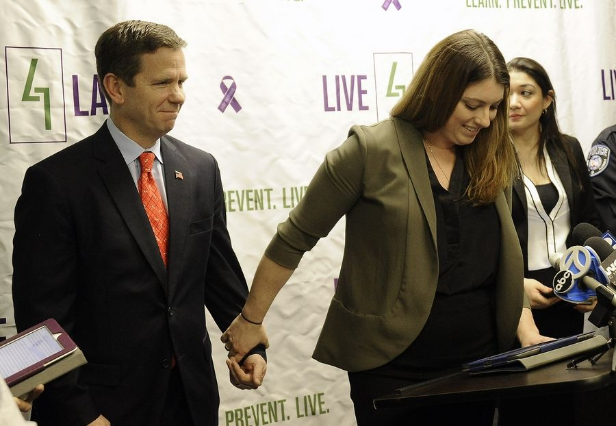Then-U.S. Rep. Bob Dold worked with Chelsea Laliberte Barnes of Live4Lali to advocate for the 2016 passage of a federal law that allocated funding for expansion of access to the opioid overdose antidote naloxone at pharmacies.