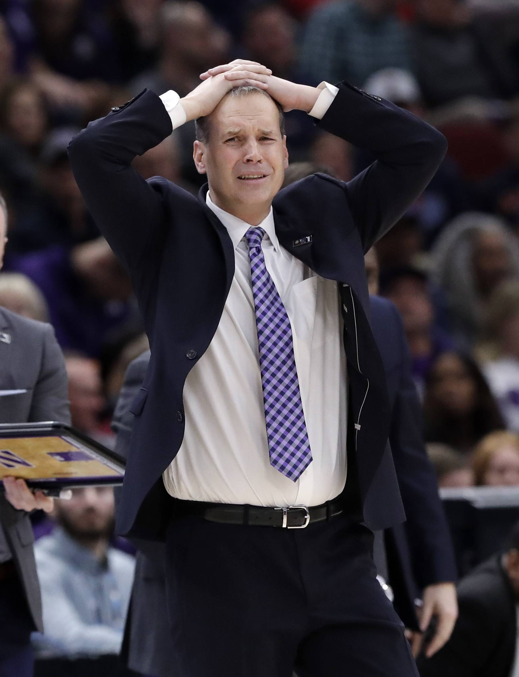 Northwestern coach Chris Collins doesn't like what he sees during Wednesday's loss to Illinois in the Big Ten Conference tournament at the United Center.