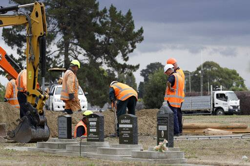 Workers dig graves at a Muslim cemetery in Christchurch, New Zealand, Saturday, March 16, 2019, for victims of a mass shooing at two area mosques.