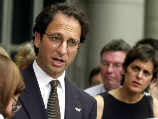 FILE - In this Wednesday, Oct. 2, 2002 file photo, Assistant U.S. Attorney Andrew Weissmann talks with the media outside the federal courthouse in Houston. Weissmann, one of the most prominent prosecutors working for special counsel Robert Mueller is leaving the team soon, a likely indication that the investigation is close to wrapping up.