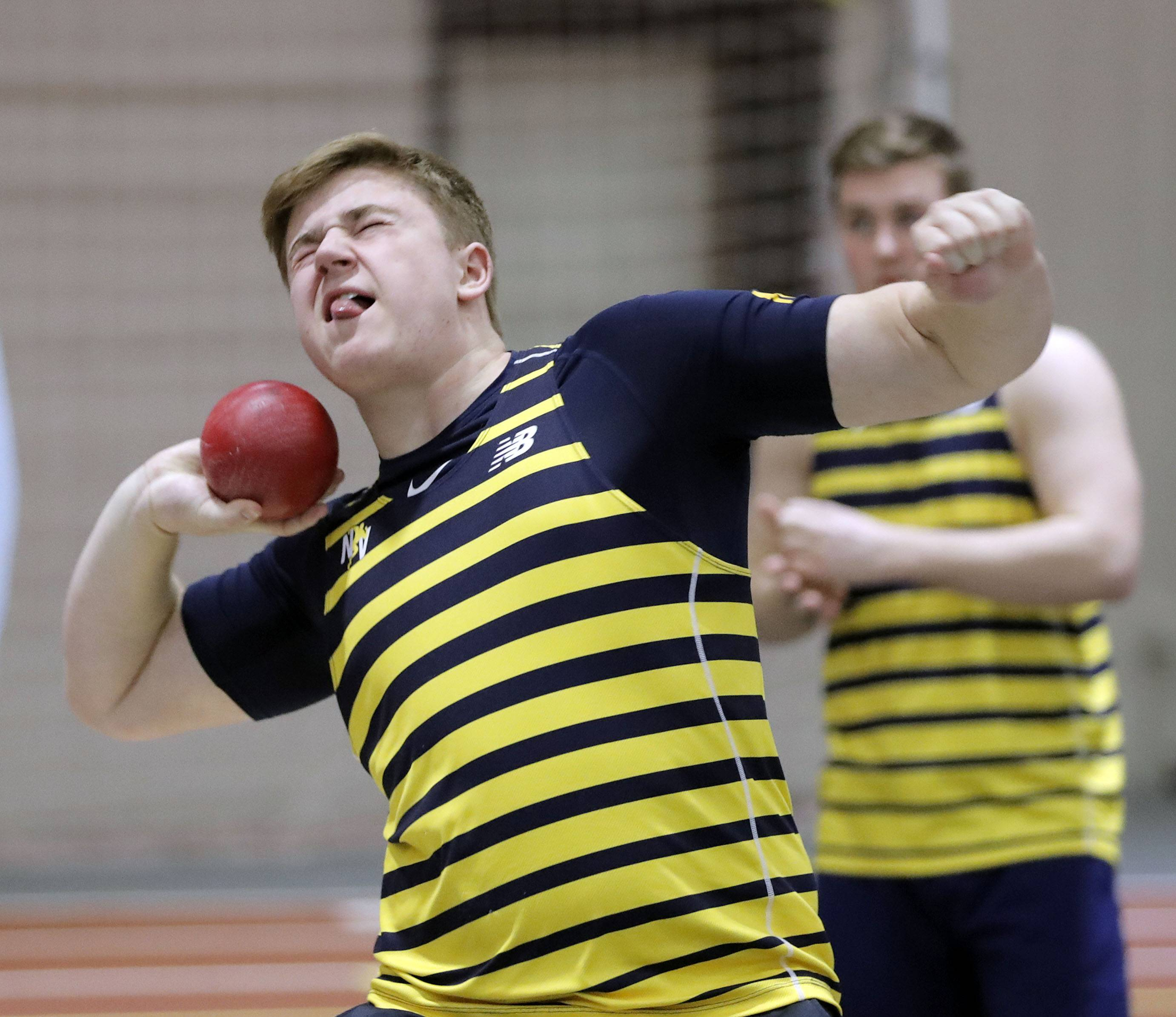 Neuqua Valley's Matthew Appel competes in the shot put during the DuPage Valley Conference boys track meet at North Central College in Naperville Friday.