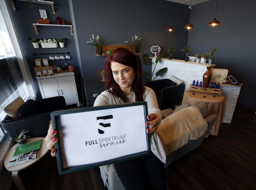Kalee Hooghkirk runs Full Spektrum Services in West Dundee, which sells hemp-based products, offers spa services, helps patients apply for the medical cannabis program and teaches continuing education for spa professionals. If the state approves recreational-use cannabis, Hooghkirk said, her business could expand into the field.