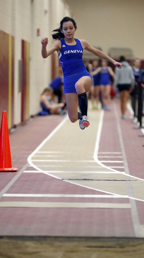 Geneva's Lupe Pena competes in the triple jump Saturday during the DuKane meet in Batavia.