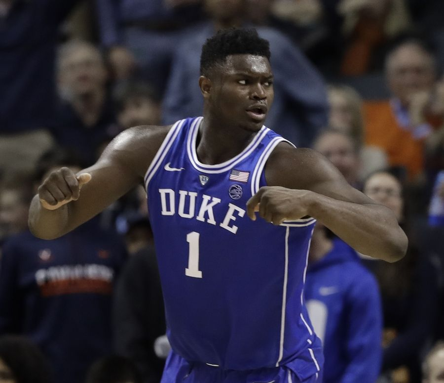 Duke s Zion Williamson (1) reacts after scoring against North Carolina  during the second half 6dac461b5