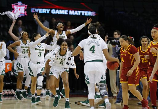 Baylor celebrates after defeating Iowa State during the Big 12 women's conference tournament championship in Oklahoma City, Monday, March 11, 2019. Baylor won 67-49.