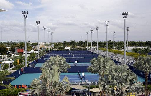 The outside courts of the Miami Open tennis tournament are viewed at Hard Rock Stadium, Monday, March 18, 2019, in Miami Gardens, Fla. The Miami Open has moved north from its home since 1987, the picturesque island of Key Biscayne, and will begin Tuesday at the home of the Miami Dolphins and the Miami Hurricanes.