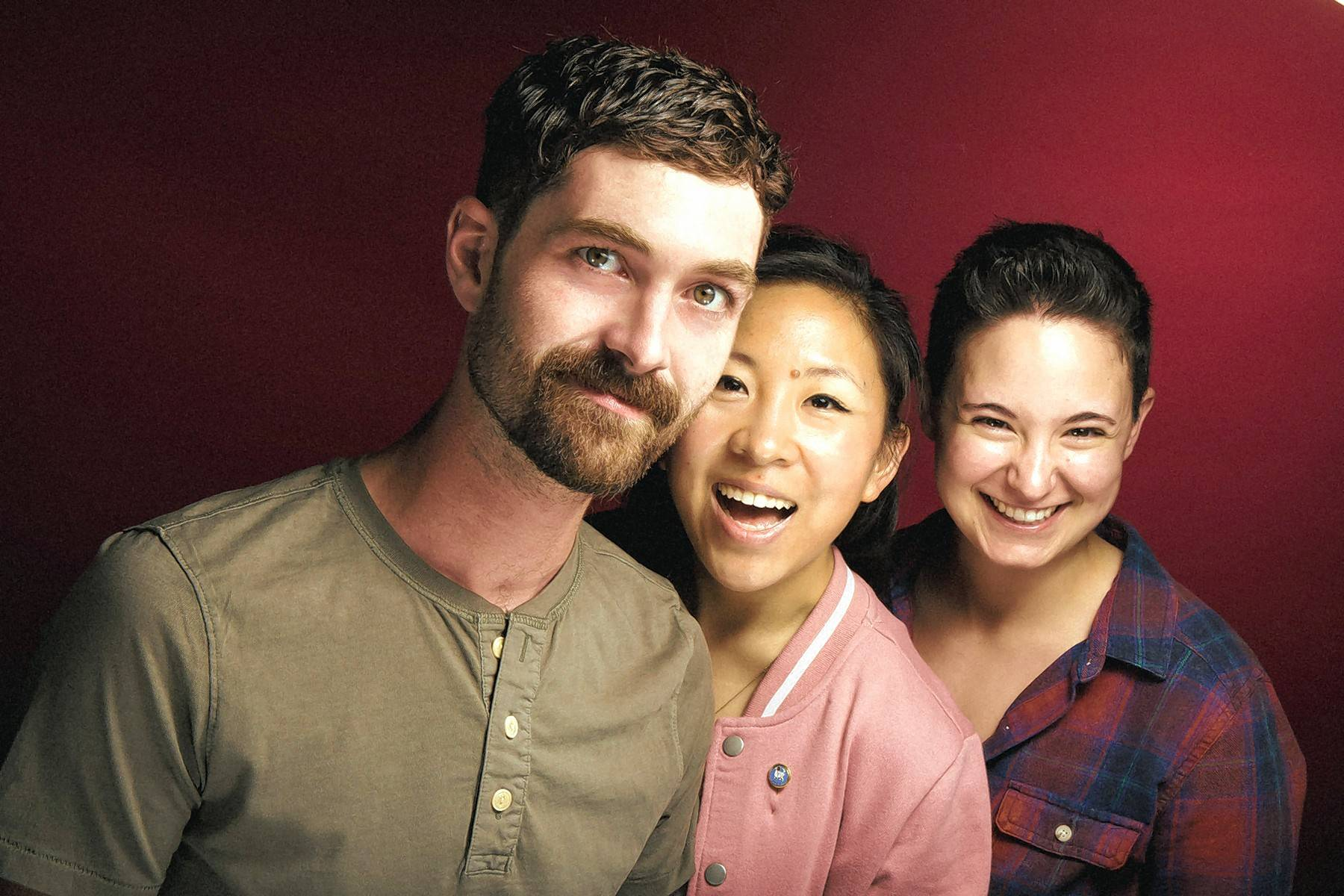 "Patriac Coakley, left, Buffalo Grove's Stephanie Shum and Jackie Seijo star in The New Colony's premiere of ""Small World,"" a comedy about the happiest place on earth."