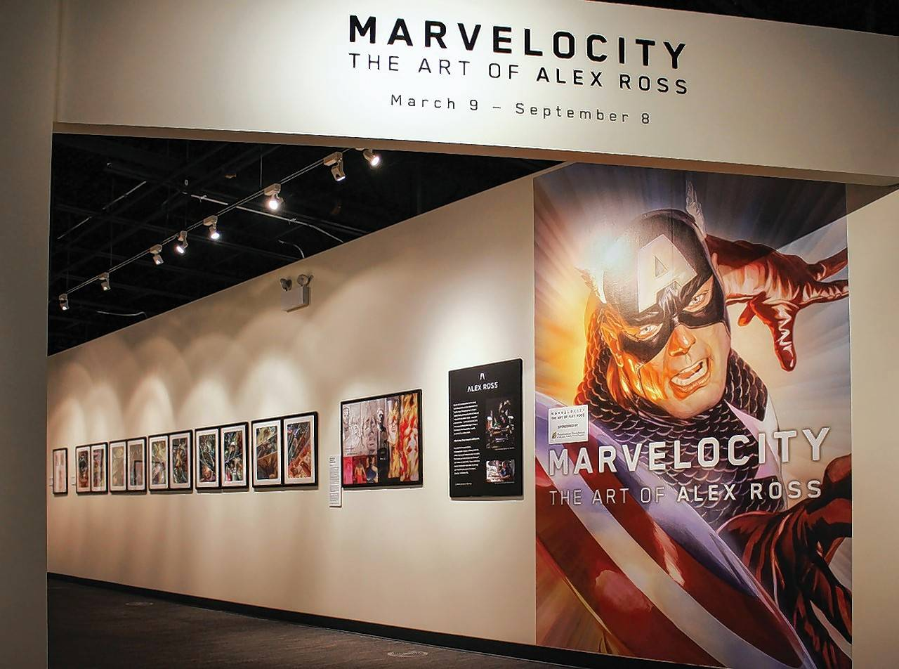 The work of renowned comic book artist Alex Ross is on display at the Dunn Museum. The exhibit features Ross' portraits of Marvel Comics' heroes and villains, sculptures and childhood pieces.
