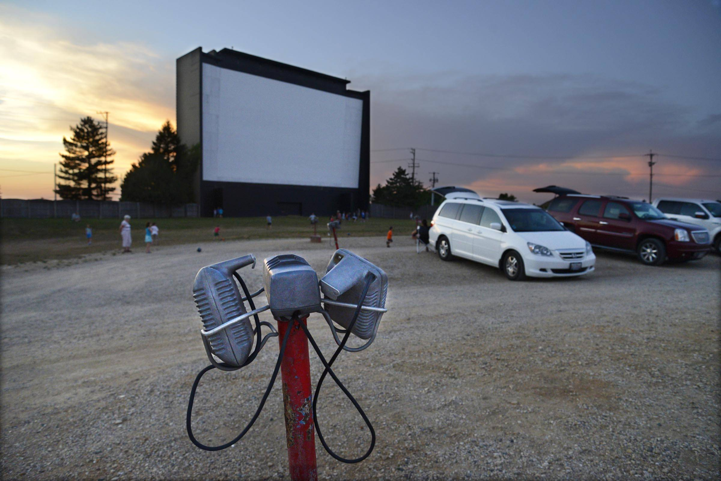 A sound speaker at the McHenry Outdoor Theater, the last remaining suburban drive-in movie theater.