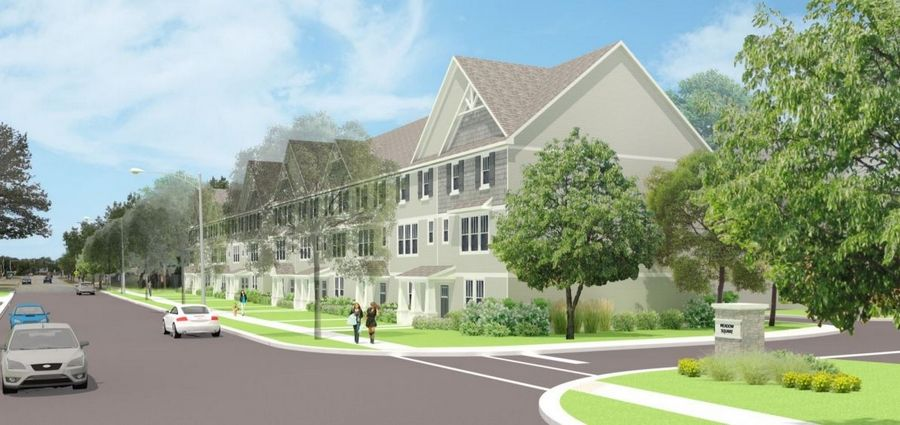 An artist's rendering shows the west side of the proposed Taylor Morrison townhouse subdivision on the former Dominick's property in Rolling Meadows. Mayor Len Prejna suggested Tuesday that as many as six units be removed along Meadow Drive and more green space added, but the developer pushed back.