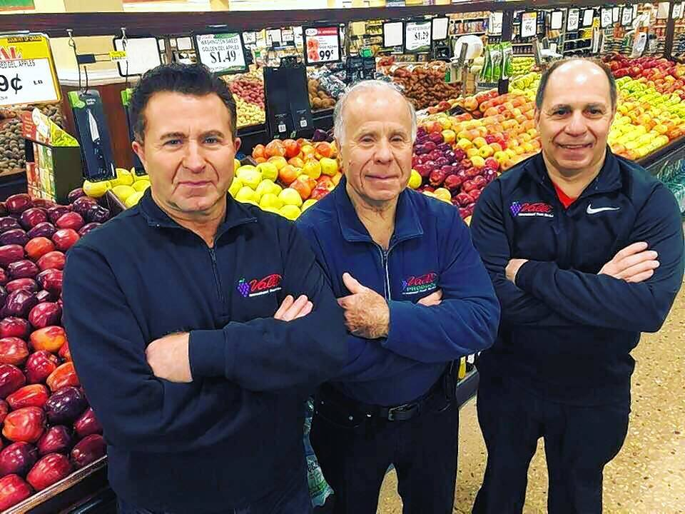 Frank Chilelli, from left, Alfredo Presta and Lou Tenuta opened Valli Produce in Arlington Heights 30 years ago. Today, a total of six family members are managing partners of the suburban grocery chain.