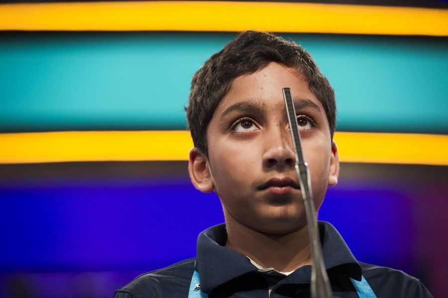 Atman Balakrishnan of Hinsdale spells his word correctly during the third round of the 2018 Scripps National Spelling Bee -- as far as he got. Atman, 12, will return to compete in this year's contest in May, with lessons learned.