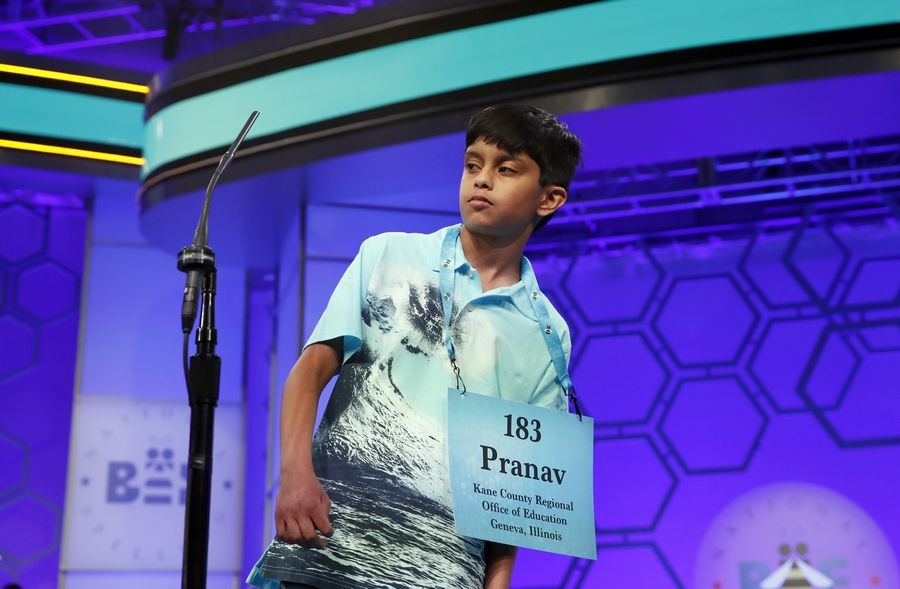 Pranav Kollu of Algonquin reacts after spelling his word during the second round of last year's Scripps National Spelling Bee. Pranav, now 12, will return to participate in the national competition in May.