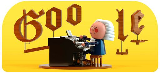 "This image provided by Google shows the animated Google Doodle on Thursday, March 21, 2019. Google is celebrating composer Johann Sebastian Bach with its first artificial intelligence-powered Doodle. Google says the Doodle uses machine learning to ""harmonize the custom melody into Bach's signature music style.""   (Google via AP)"