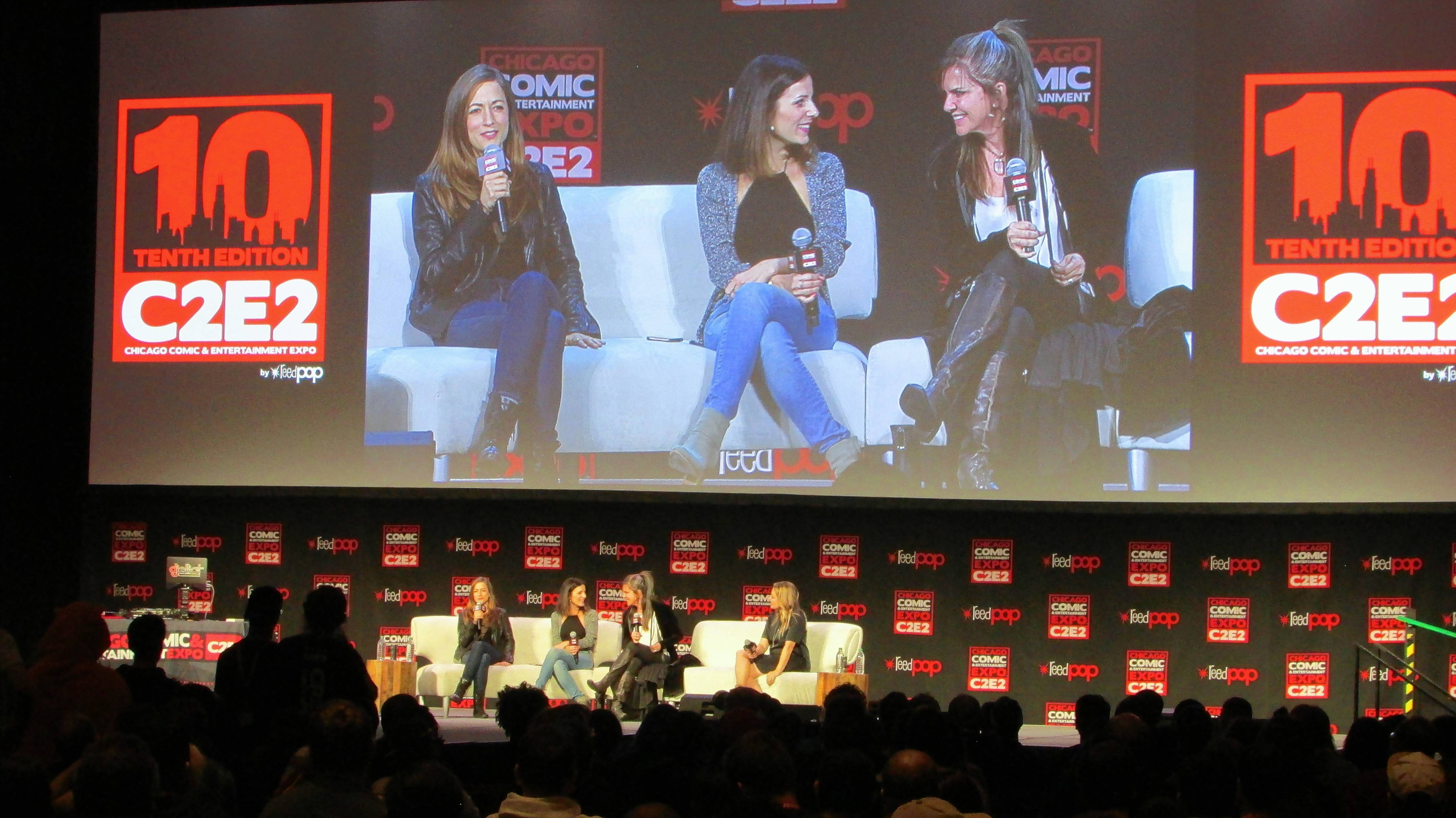 """Overwatch"" voice actresses Carolina Ravassa (Sombra), Lucie Pohl (Mercy) and Jennifer Hale (Ashe) talk to fans from the C2E2 main stage Friday at McCormick Place in Chicago."