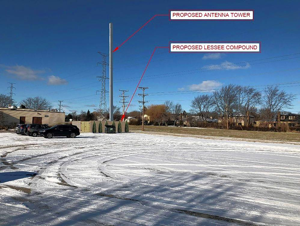 A photo rendering shows what a 75-foot cell tower and its associated equipment area will look like at the Cross and Crown Lutheran Church in Arlington Heights.