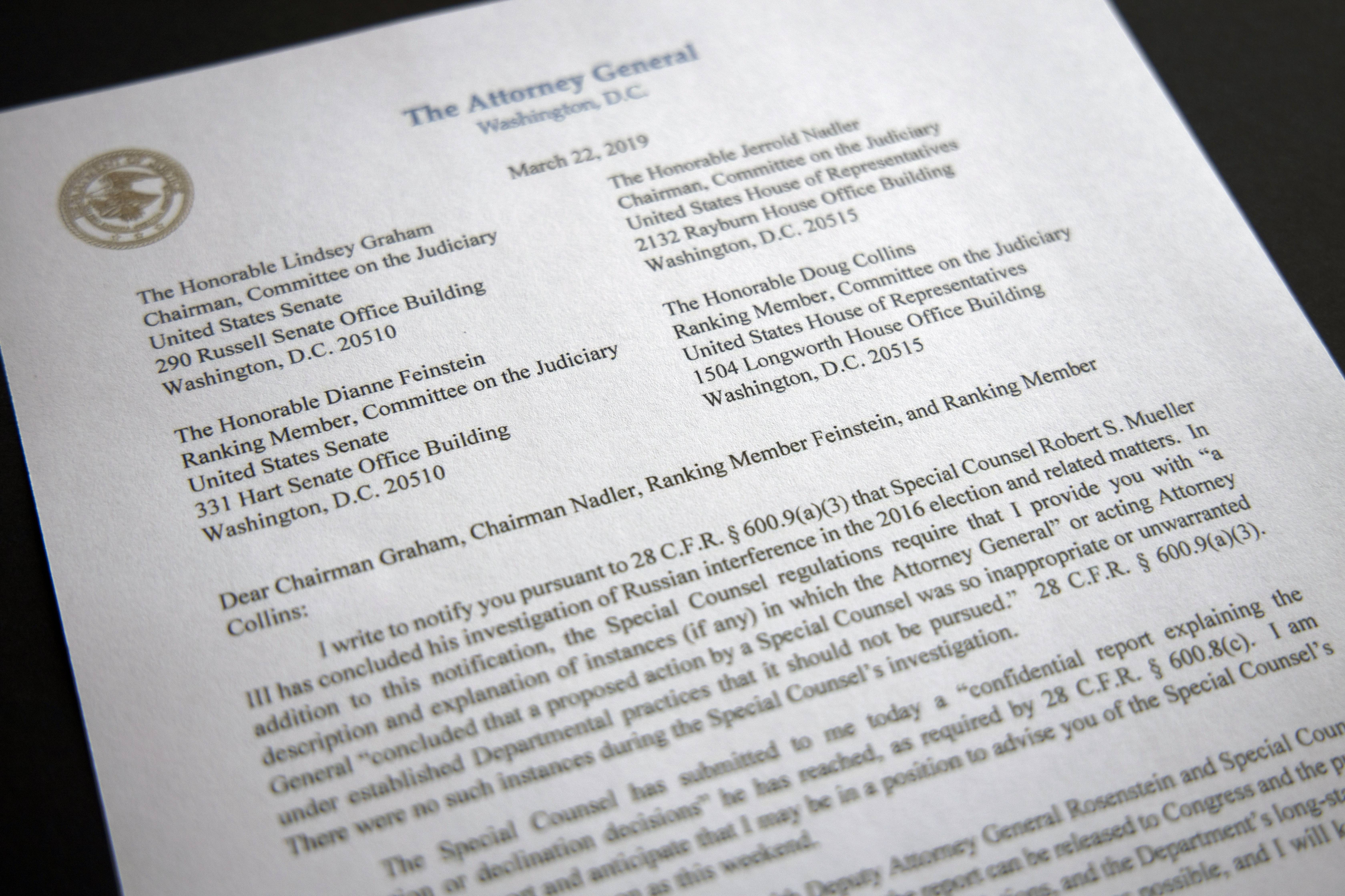 A copy of a letter from Attorney General William Barr advising Congress that Special Counsel Robert Mueller has concluded his investigation, is shown Friday, March 22, 2019 in Washington. Robert Mueller on Friday turned over his long-awaited final report on the contentious Russia investigation that has cast a dark shadow over Donald Trump's presidency, entangled Trump's family and resulted in criminal charges against some of the president's closest associates. (AP Photo/Jon Elswick)