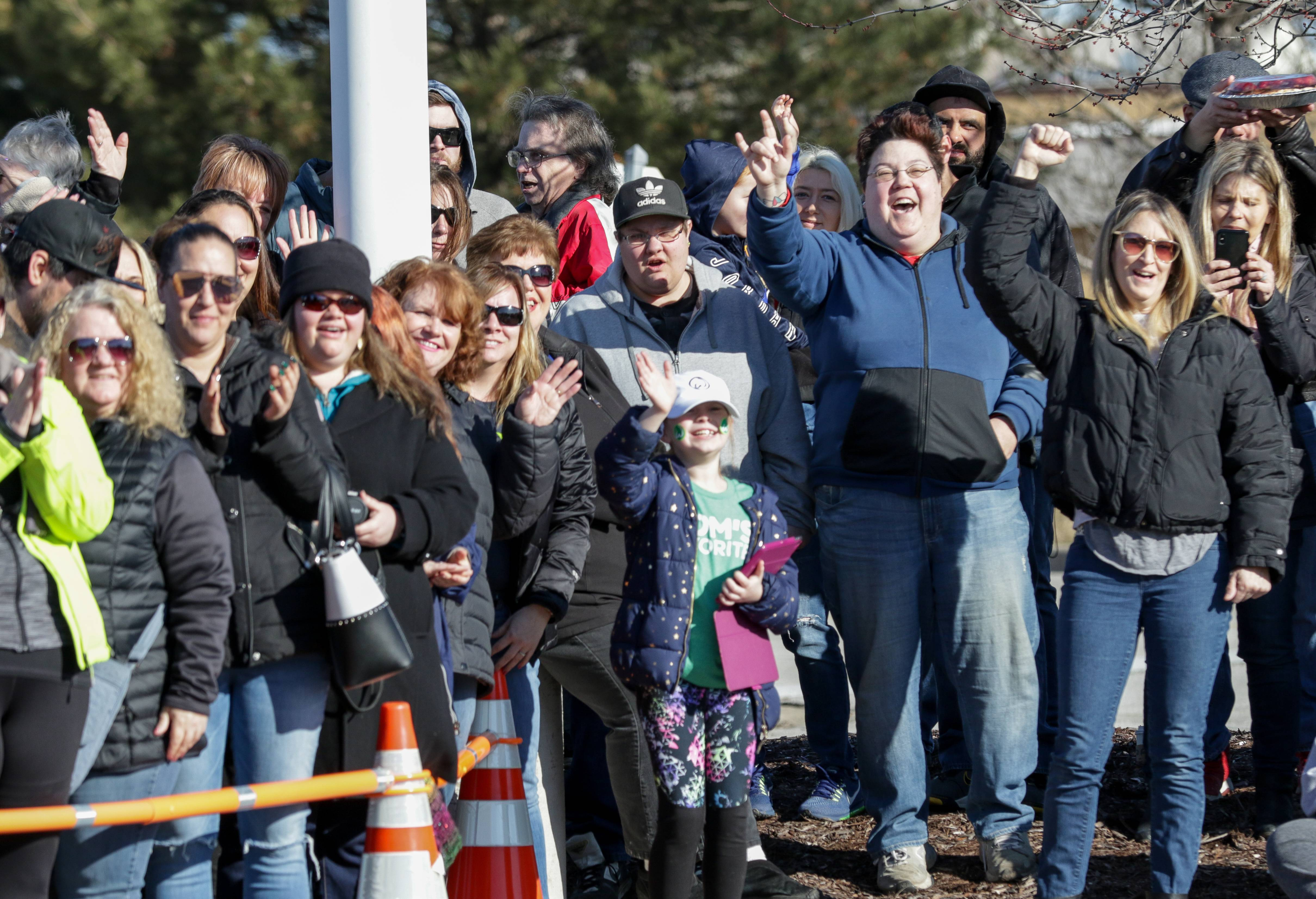Fans cheer for Donnie Wahlberg at the groundbreaking of the new Wahlburgers restaurant in St. Charles on Friday.