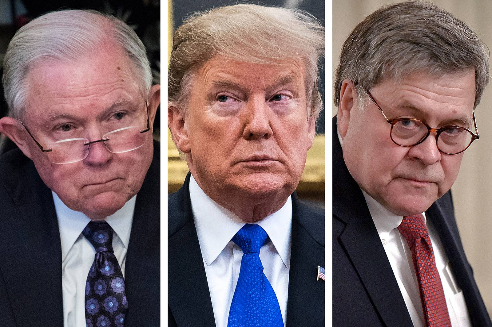 Former Attorney General Jeff Sessions, left, returned to the Justice Department on Thursday for an event in which he was presented with his old Cabinet chair. President Donald Trump replaced Sessions with William Barr, right.